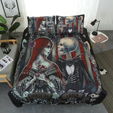 Immortal Lover Black Sugar Skull Weddding Duvet - Skullflow