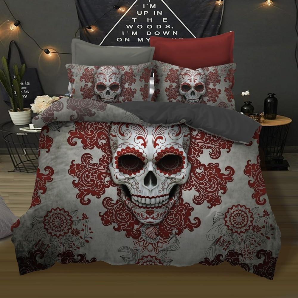 3Pcs Skull Red Flowers Bedding Set - Skullflow