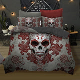 3Pcs Skull Red Flowers Bedding Set
