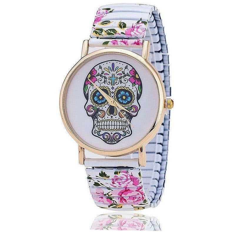 Skull Flower Printed Spring Watch - Skullflow