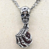 Vintage Skull with Claw Evil Eye Necklace Pendant