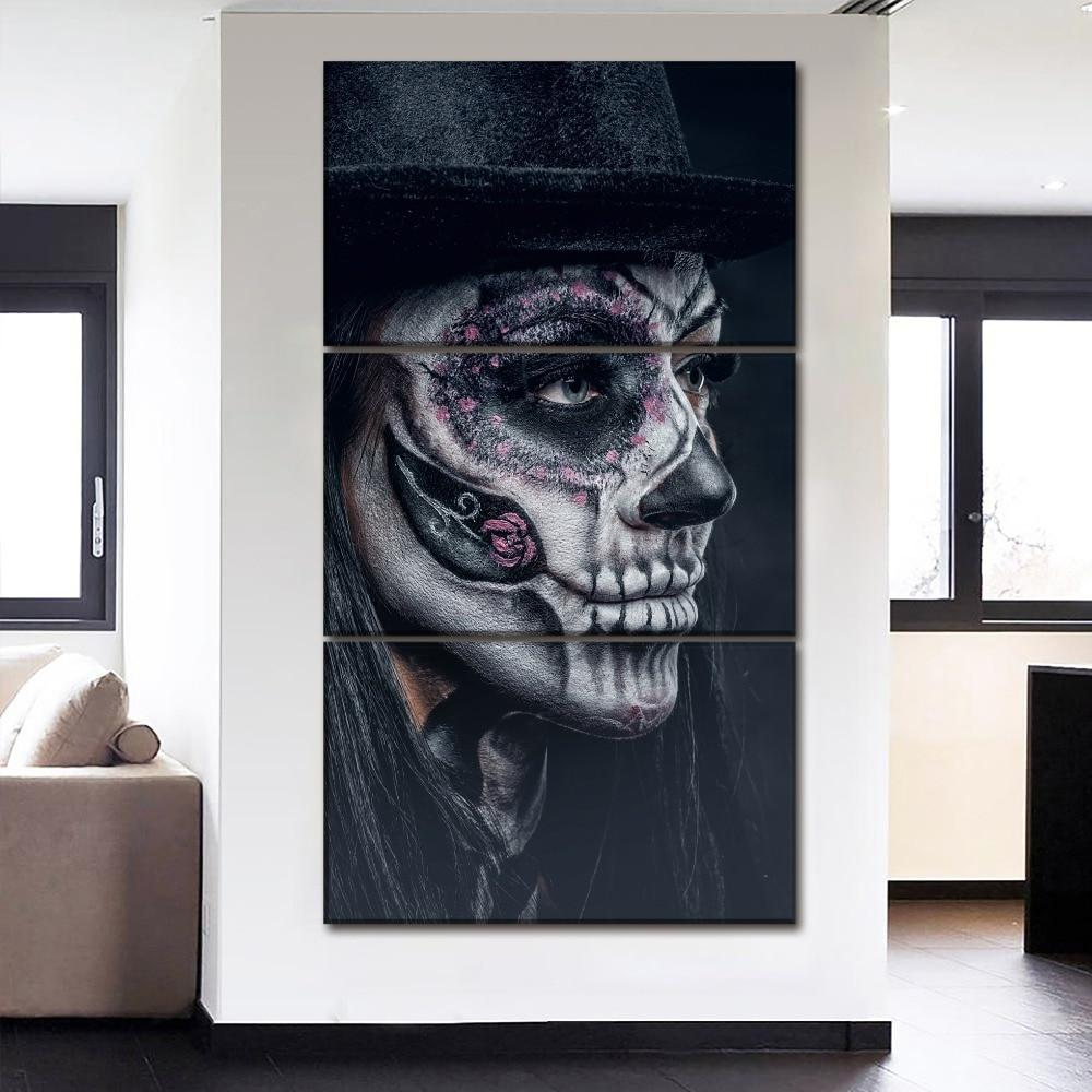 Artistic Sugar Skull Canvas Wall Art 3-Panels/Set - Skullflow