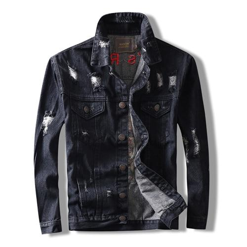 Black Skull Embroidered Ripped Denim Jacket