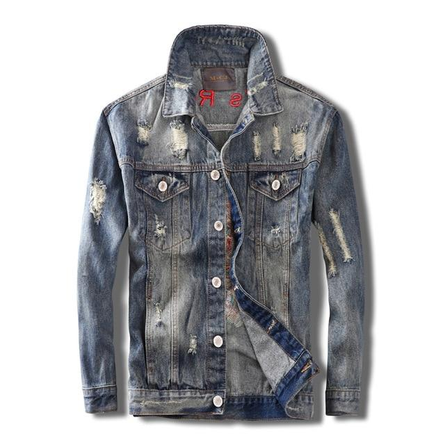 Blue Skull Embroidered Ripped Denim Jacket