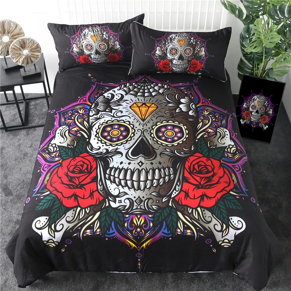 Sugar Skull Diamond Gothic Bedding Set - Skullflow