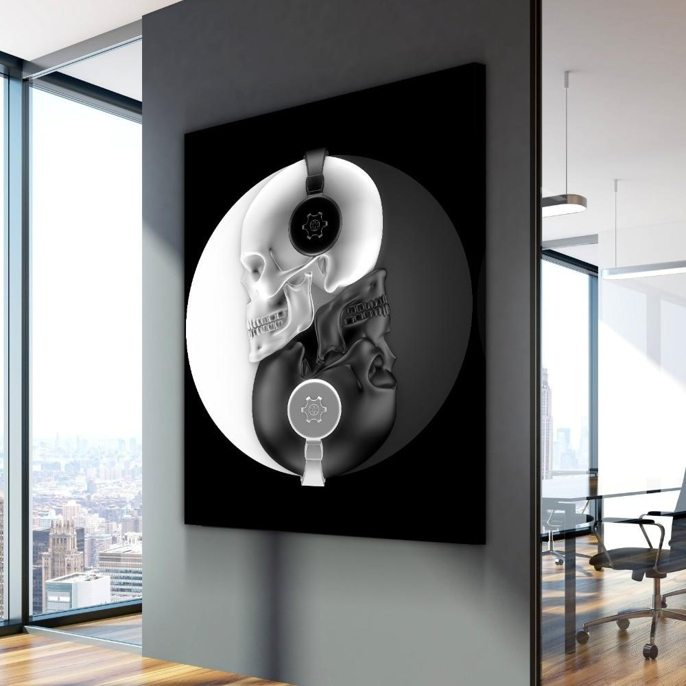 Beat Of Balance Skull Music Canvas Wall Art - Skullflow