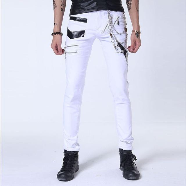 White Punk Gothic Chain Pants