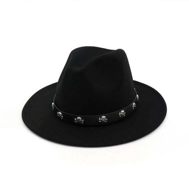 Vintage Wool Skull Rivet Leather Fedora Hat