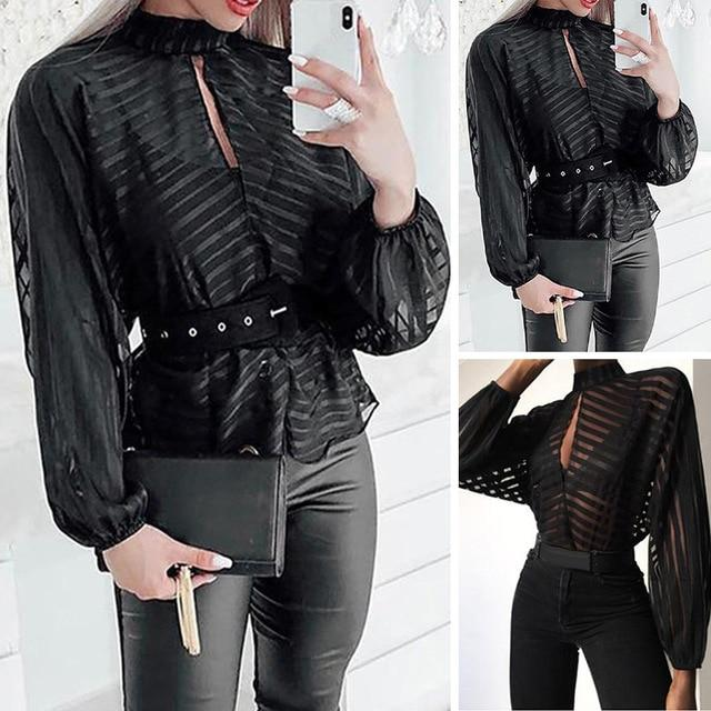Gothic See Through Mesh Sheer Blouse - Skullflow