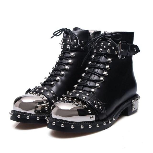 Punk Gothic Style Lace Up Belts Rivet Round Toe Boots - Skullflow