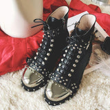Punk Gothic Style Lace Up Belts Rivet Round Toe Boots