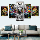 5 Pcs Abstract Colorful Art Skull Wall Art