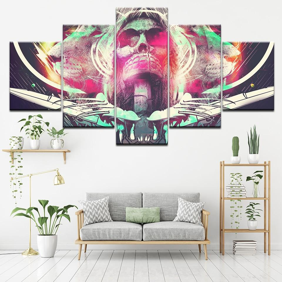 Abstract Colorful Skull 5 Pieces Wall Art - Skullflow