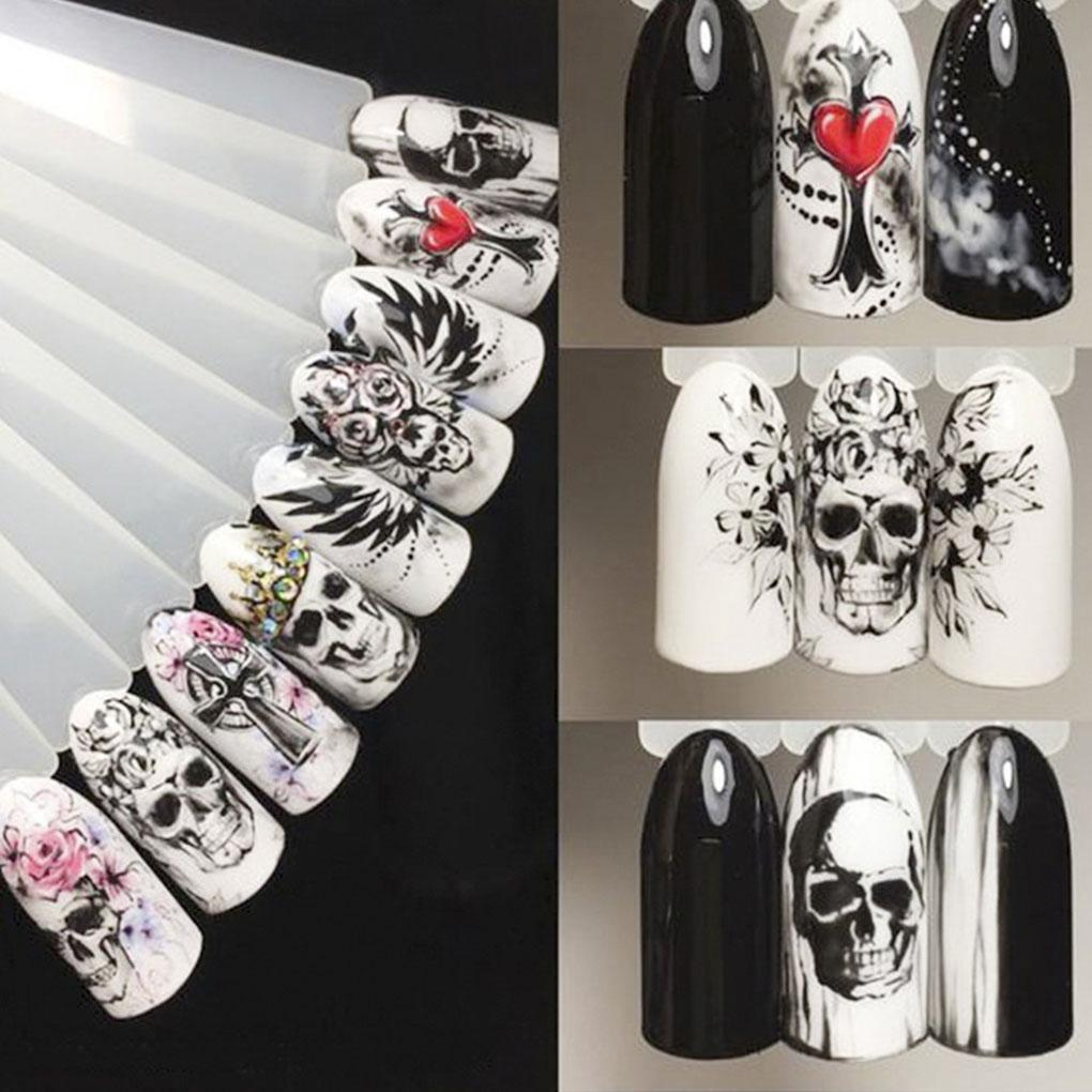 Black White Skull Element Nail Sticker - Skullflow