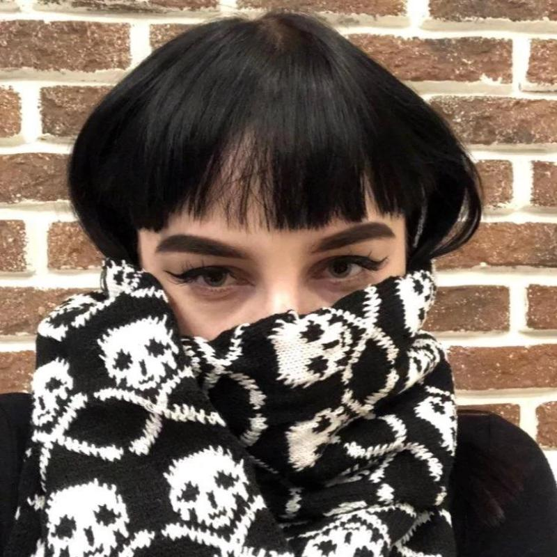 Skull Winter Knitted Scarf