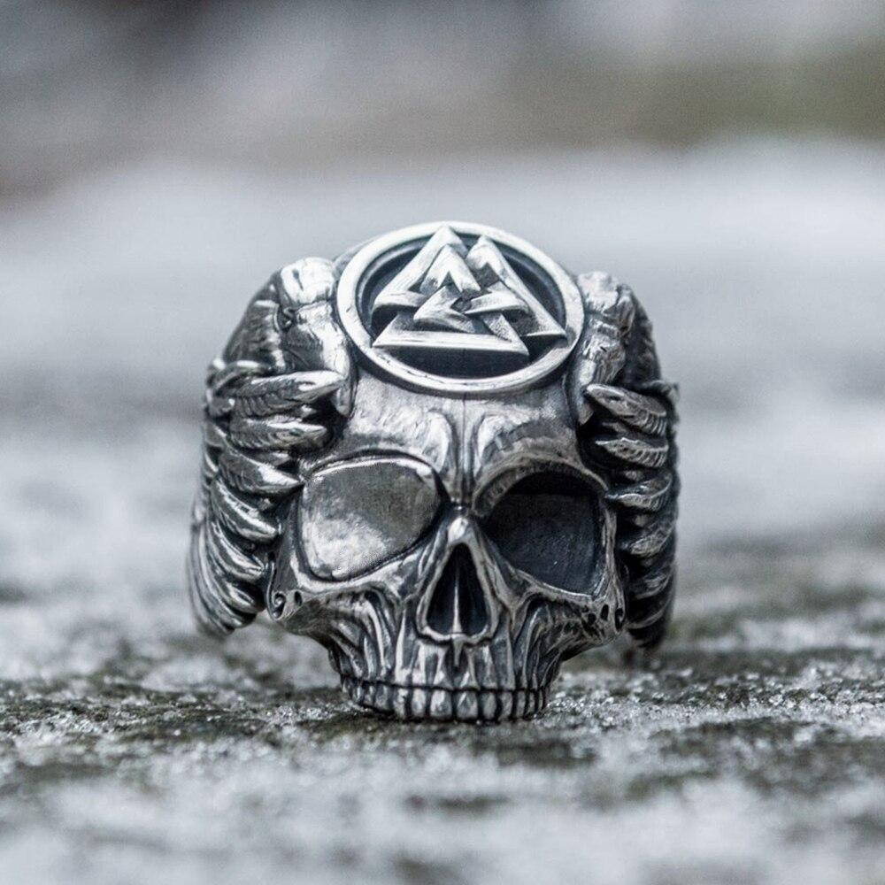 Skull Raven Viking Ring