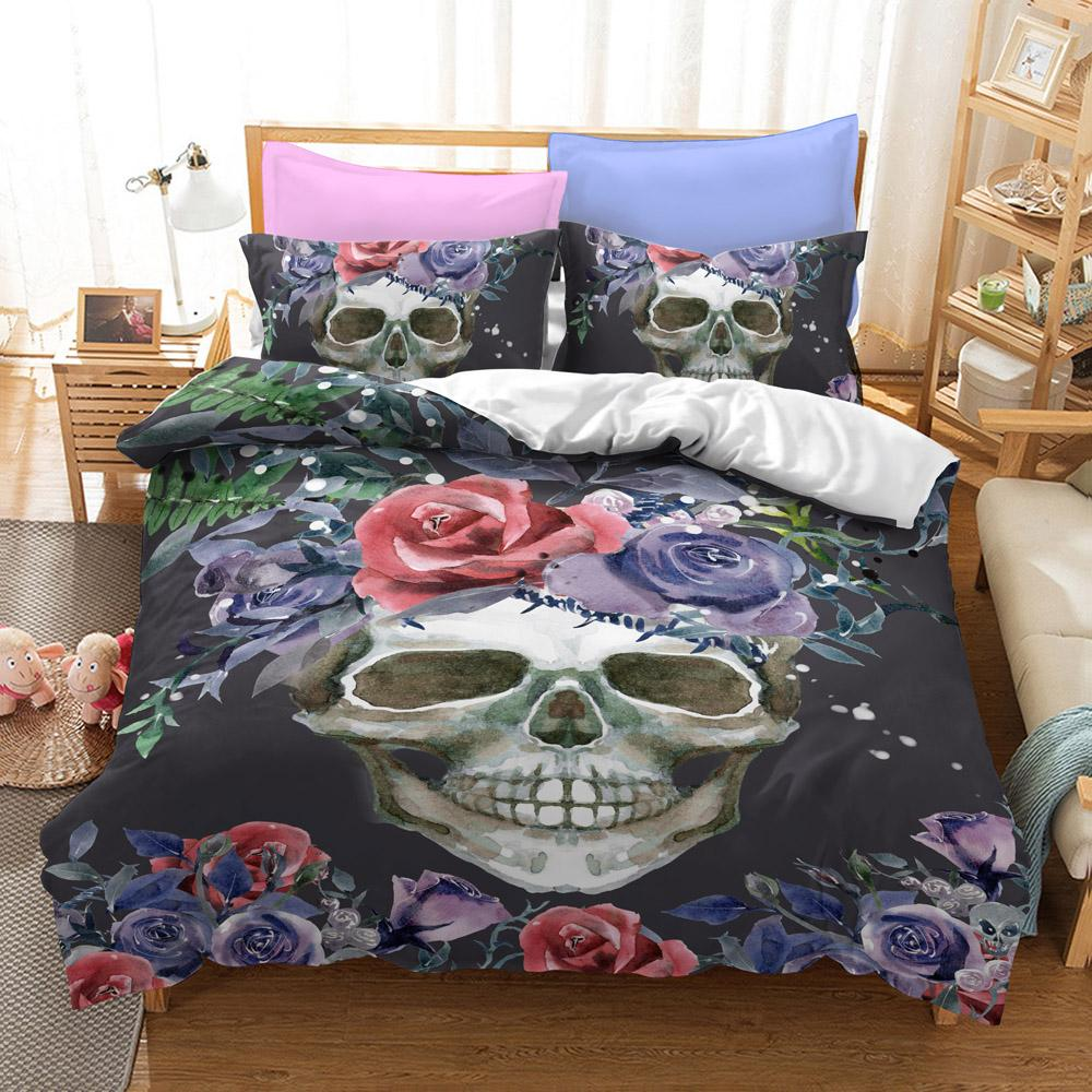 Black Flower Skull Bedding Set