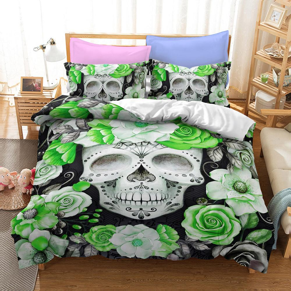 Green Flower Skull Bedding Set