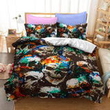 Splattered Colored Skull Bedding Set