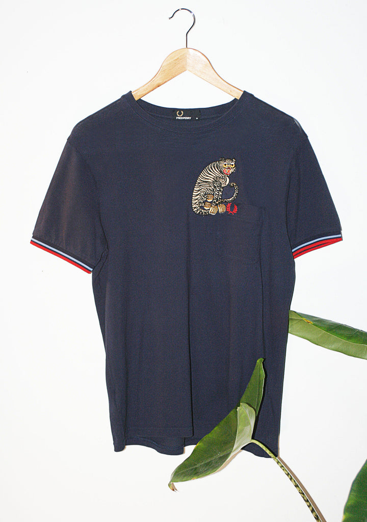 Retro Fred Perry 90s Upcycled T-Shirt with Cloh Tiger Embroidery