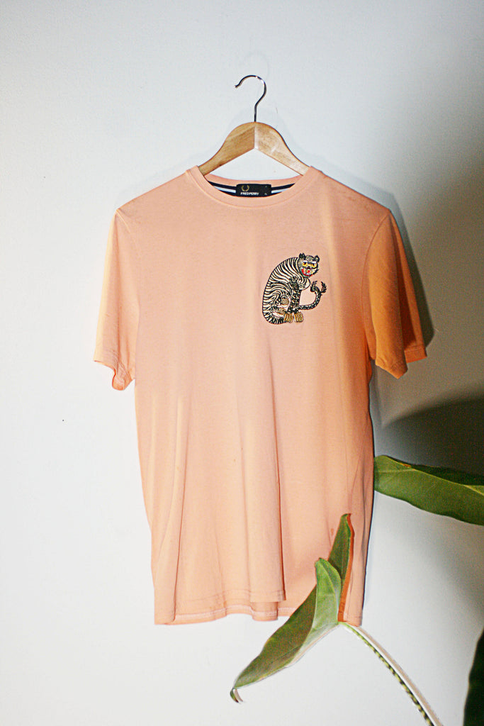 Peach Retro Fred Perry 90s t-shirt upcycled with cloh tiger embroidery