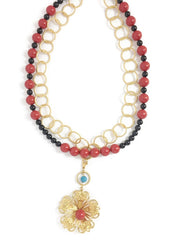 Swarovski Pearl Necklace with Gold Pendant