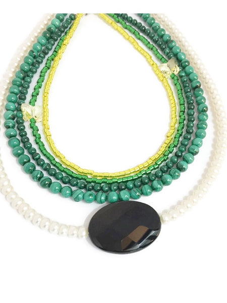 Pearl and gemstone multistrand necklace