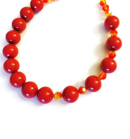 Swarovski Choker in Red and Yellow - Nuri