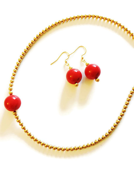 Red and Gold Swarovski pearl choker - Isha