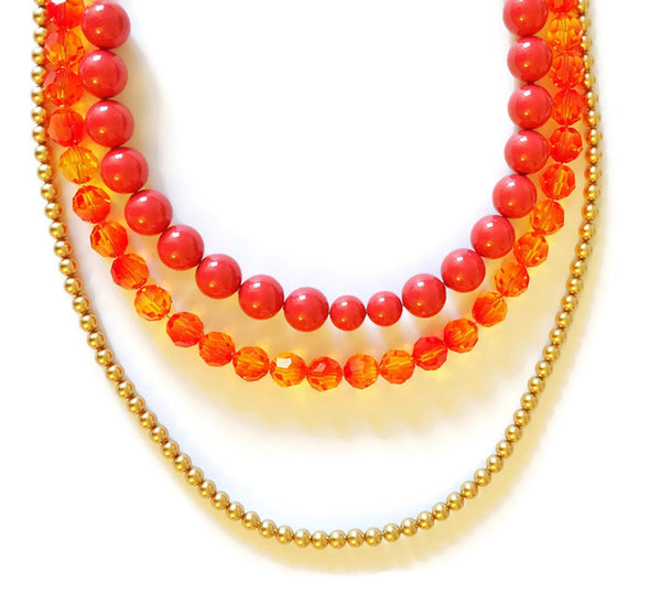 Multistrand Red and Gold Swarovski necklace - Tanvi
