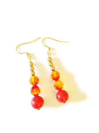 Red and Gold Swarovski pearl earrings - Amelia