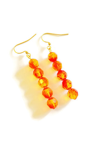 Unique Swarovski Crystal Earrings in Yellow Red - Jaya