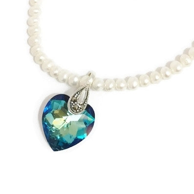 Pearl and Swarovski necklace with Swarovski crystal heart pendant in blue with Seterling Silver and Marcasite
