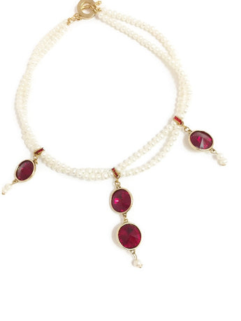 Pearl and Swarovski choker with Swarovski crystal rivoli pendant in Siam or Red