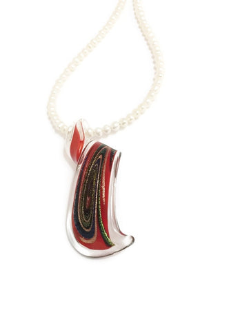 Pearl necklace with Lampworked glass pendant in red and black