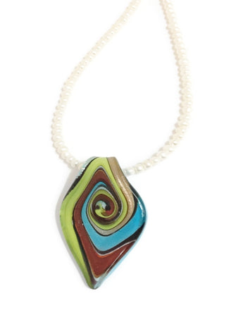Hand Blown Glass pendant Necklace - Ayana
