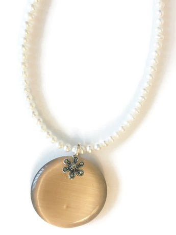 Pearl necklace with Brown Cat's eye glass pendant with Sterling Silver and Marcasite Flower