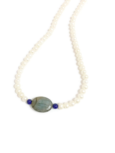 Pearl and Gemstone Necklace with Labradorite and dark blue Lapis lazuli natural Gemstone Beads