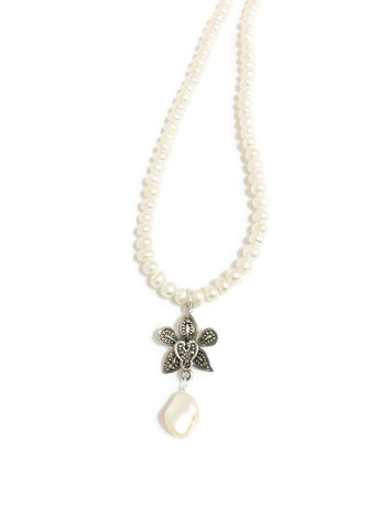 Pearl and Swarovski necklace with Swarovski pearl pendant and Sterling Silver and Marcasite