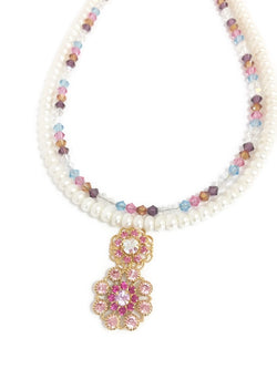 Double Strand Pearl Necklace - Aurora