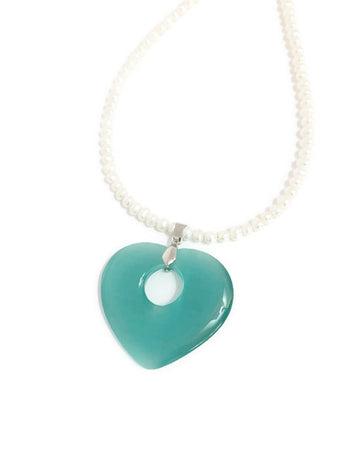 Pearl necklace with Cat's eye glass pendant in Teal or Blue Green