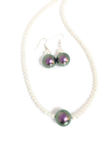Pearl and Swarovski necklace with Swarovski pearl pendant in Purple