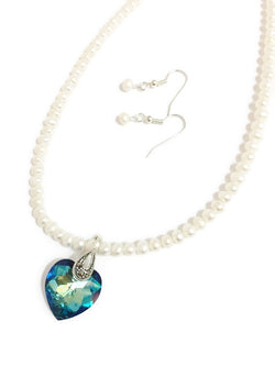 Pearl and Swarovski necklace with Swarovski crystal heart pendant in blue