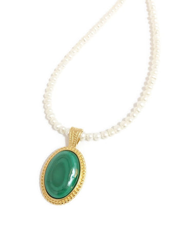Pearl necklace with Green Malachite Gemstone Bead in Gold setting