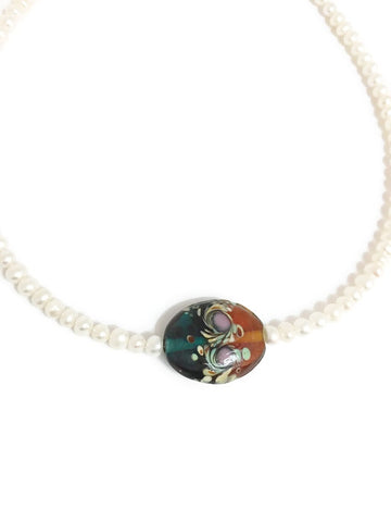 Pearl necklace with Lampworked glass pendant in Brown Blue Peach Purple and Red Multicolored Swirls