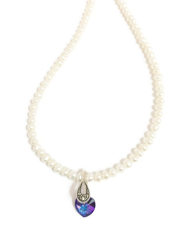 Pearl and Swarovski necklace with Swarovski crystal little heart pendant in purple blue with Sterling Silver and Marcasite