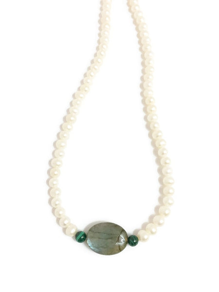 Pearl necklace with Labradorite and Green Malachite Gemstone Beads
