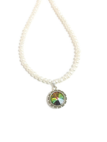 Pearl and Swarovski necklace with Swarovski crystal rivoli pendant in Green Crystal Vitrail
