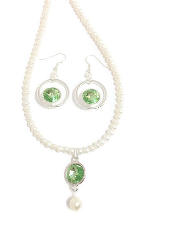 Pearl and Swarovski necklace with Swarovski crystal rivoli pendant in Peridot or Green and Swarovski Pearl in cream