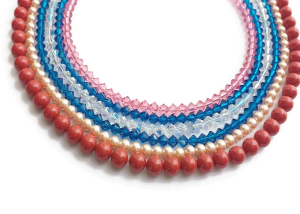 Multicolored Multi strand Swarovski necklace